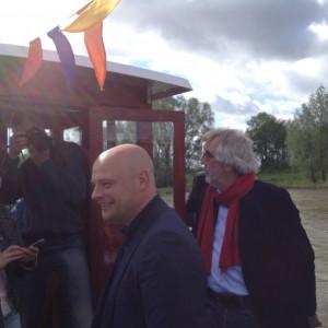 Wethouder Gerrie Elfrink en Wethouder Henk Kok tijdens eerste overtocht ASM 1